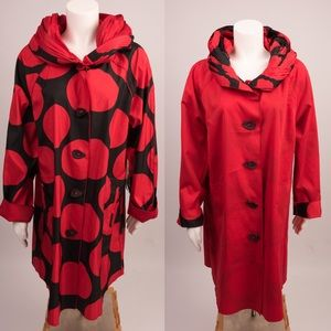 Ubu raincoat jacket Parisian polka dot red black